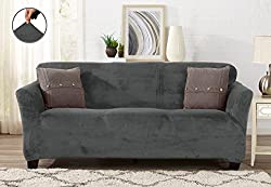 Great Bay Home Modern Velvet Plush Strapless Slipcover. Form Fit Stretch, Stylish Furniture Coverprotector. Gale Collection By Brand. (Sofa, Wild Dove Grey)