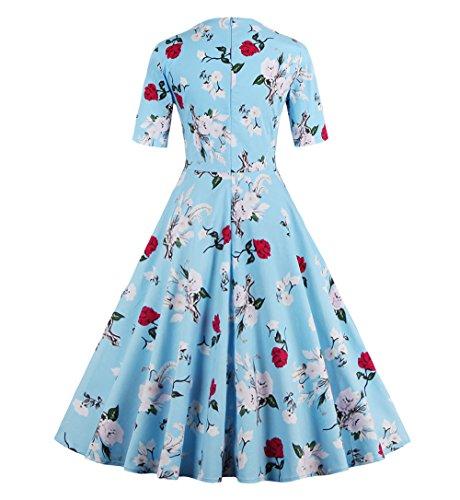 Retrò D'onore Primavera Blu Luce Daroj Giardino 1950 Partito Sera Della Vestito Floreale 1960 Di Damigella dqgxz