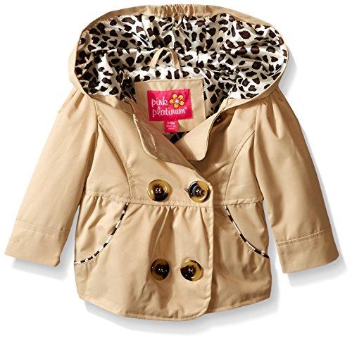 Pink Platinum Baby Girls' Double Breasted Jacket, Khaki, 12 Months