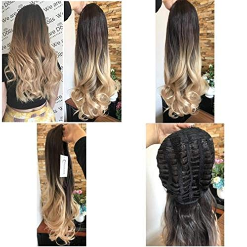 24 Inches Half Head Wig Long Curly Wavy OMBRE DIP DYE 3/4 Weave Brown Blonde ( darkest brown to sandy blonde) (Dark Blonde To Light Blonde Dip Dye)