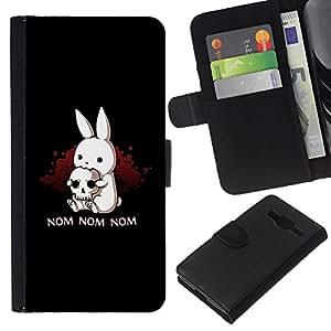 JackGot ( Nom Nom Conejito malvado ) Samsung Galaxy Core Prime la tarjeta de Crédito Slots PU Funda de cuero Monedero caso cubierta de piel
