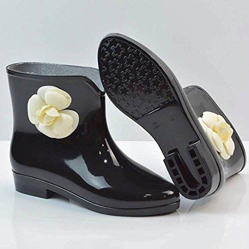 Travail 1 5 Black Femme de 36 Popoye Chaussures Flower Wellington Noir wA766tTq