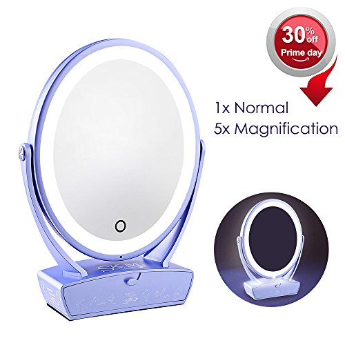 LED Makeup Mirror, Touch Screen Dimming LED, Free Rotating Illuminated Oval Shaving Mirror, Dual Sided Cosmetic Vanity Mirror with 5X Magnification and Drawer, Beauty Mirror with USB Charging, Violet (Round Table Extending To Oval)