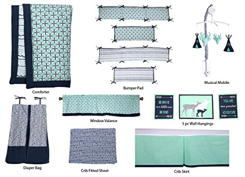 Bacati Noah Tribal 10 Piece Nursery-in-a-Bag Cotton Percale Crib Bedding Set with Bumper Pad, Mint/Navy by Bacati (Image #4)