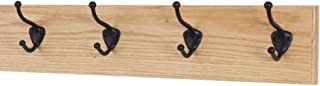 """product image for Oak Wall Mounted Coat Rack with Bronze Hooks (Natural, 20"""" x 4.5"""" with 4 Hooks)"""