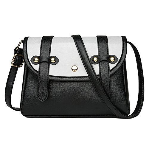 Black Small Womens Bag Flip Cover Hit Color Vintage Body Grey Light Belt Leather Cross Bag Leisure wwZ1fqt