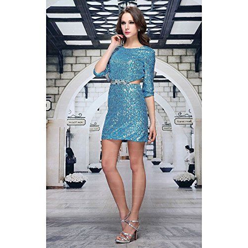 Festamo Pailletten Cocktail Mini Kleid Für Damen Türkis In Gr 44 bei ...