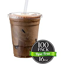 Cold Smoothie Go Cups and Lids | Iced Coffee Cups | Plastic Cups with Lids | 16 oz Cups, 100 Pack | Clear Disposable Pet Cups | Ideal for Parfait Juice Soda Cocktail Party Cups [Drinket Collection]
