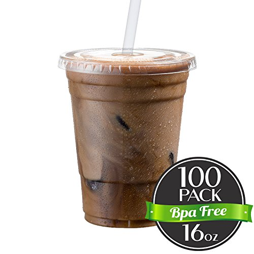 Cold Smoothie Go Cups and Lids | Iced Coffee Cups | Plastic Cups with Lids | 16 oz Cups, 100 Pack | Clear Disposable Pet Cups | Ideal for Parfait Juice Soda Cocktail Party Cups [Drinket Collection] (Travel Lid Plastic)