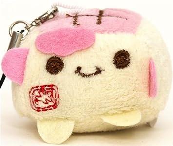 colgante de Hannari Tofu rosa de peluche japonés kawaii