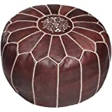 Brown Moroccan Leather Pouf Ottoman, Unstuffed
