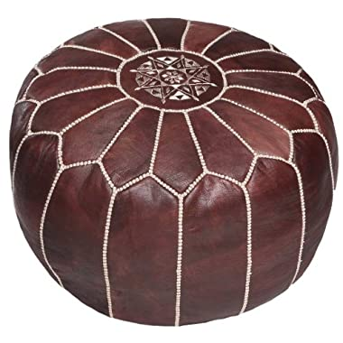 Brown Moroccan Leather Pouf Ottoman, Stuffed