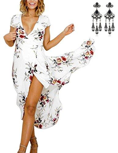MODETREND Mujer Vestidos Verano de Dobladillo Irregular V Cuello Partido Vestido Playa Blanco