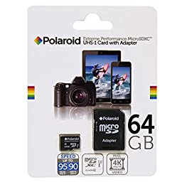 64 GB Micro SD Card for Smart Phones (Samsung Galaxy S7,S6,S5,S4, LG, Motorola, Sony, BLU, Moto, HTC) and Tablets – Super High speed U3 Up to 95mb/s Class 10 MicroSDXC flash memory by POLAROID