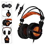 SADES A6 USB PC Gaming Headset 7.1 Surround Sound Stereo Gaming Headphones Over Ear Headband with High Sensitivity Microphone Volume Control Breathing LED Lights for PC Gamer(Black)