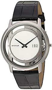 Titan Men's 1577TL01 EDGE - Ultra Slim - Black Leather Strap Watch