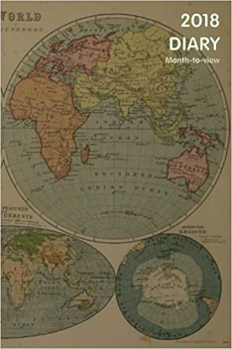 2018 diary month to view vintage world map cover amazon 2018 diary month to view vintage world map cover amazon world diary 9781981680030 books gumiabroncs Image collections
