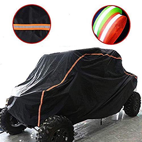 (KEMIMOTO UTV Cover RZR Storage Cover Protect Your SxS Vehicle from Rain, Snow, Dirt, Debris and Damaging UV Rays-Reflective Strip for Increased Visibility)
