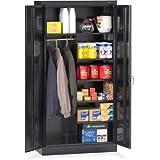 Tennsco 7214 24 Gauge Steel Standard Welded Combination Storage Cabinet, 5 Shelves, 150 lbs Capacity per Shelf (50 lbs per half shelf), 36'' Width x 72'' Height x 18'' Depth, Black