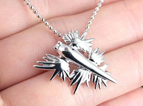 Sterling Silver Rhodium Plated Sea Swallow  Blue Dragon  Sea Slug  Nudibranch Pendant Necklace  Glaucus Atlanticus