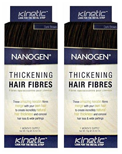 Nanogen Keratin Hair Fibers (Set of 2) Hair Loss Concealer - Dark Brown, 15 grams by Nanogen