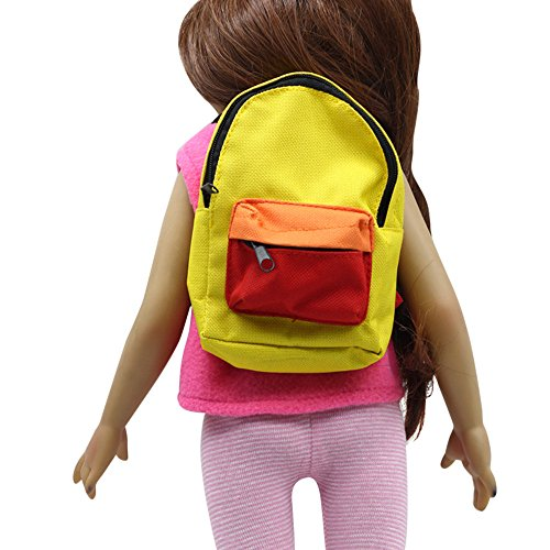 AMOFINY New Double Straps Backpack Schoolbag American Girl Doll For 18 Inch (Yellow)