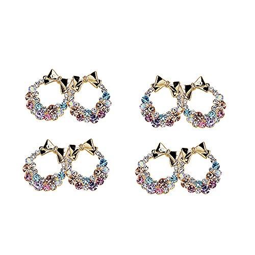 Garrelett Crystals Earrings, 4 Pairs Colorful Multi Rhinestones Diamonds Ear Studs Wedding Jewelry Earrings for Girls Women Daily Wearing - Bajoran Costume