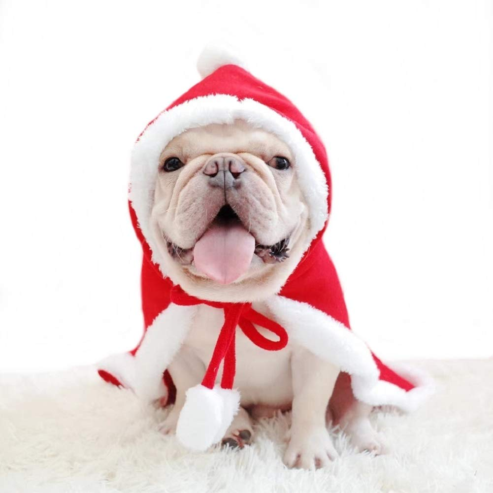 Large X-Large Stock Show Dog Cat Christmas Santa Claus Cloak Costume with Hat Pet Winter Fleece Super Cute Hoodie Poncho Puppy Hooded Coat Warm Xmas Clothes Party Holiday Dressup Pet Apparel for Small Dogs Cats