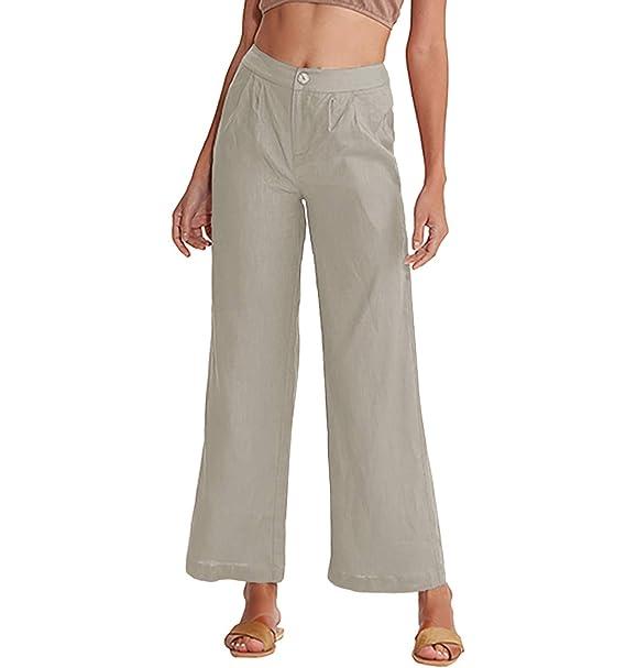 99cc2b86 Amazhiyu Women's Linen High Waist Wide Leg Pants with Pockets Summer ...