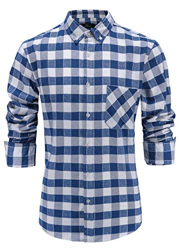Emiqude Men's Slim Fit Flannel Cotton Long Sleeve Button-Down Plaid Dress Shirt Large Blue White