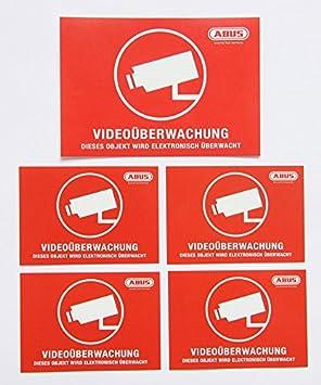 5x Abus Videoüberwachung Aufkleber 104x73 72x51 Mm Kamera Überwachung Videoüberwacht Rot Sicherheit Einbruchschutz Objektschutz Warnhinweis Cam Dummy Anti Theft Schutz Sicherung Baumarkt