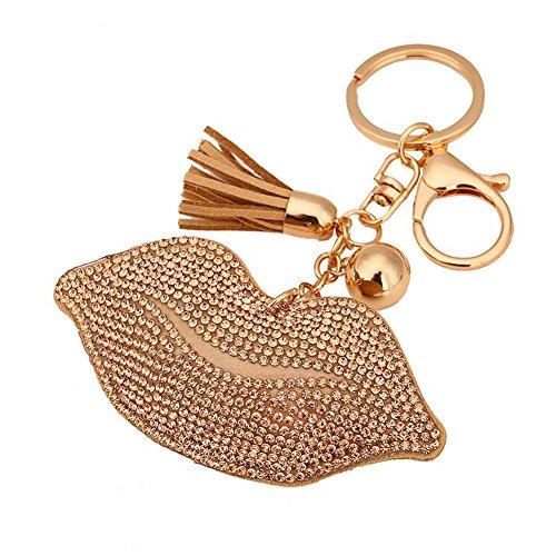 BAO Bling Crystal Lip Leather Tassel Pendant Charm Car Bag Purse Keychain Keyring(Champagne)