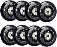 TOBWOLF 8 Pack 64mm 82A Indoor Inline Skate Replacement Wheels, Kids Indoor Skating Wheels with ABEC-7 Bearing