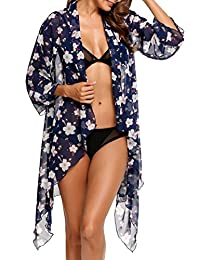 Meaneor Women Boho Floral Chiffon Kimono Cardigan Beach Bikini Cover Up Blouse