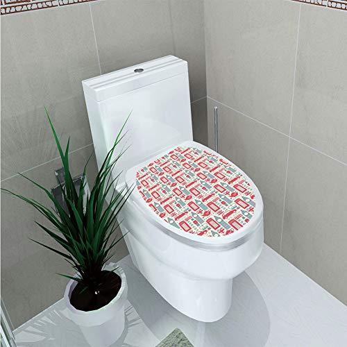 Toilet Cover Sticker,London,Popular British Culture Elements Retro Colors Flag Patterned Hearts,Dark Coral Bluegrey Cream,Custom ()