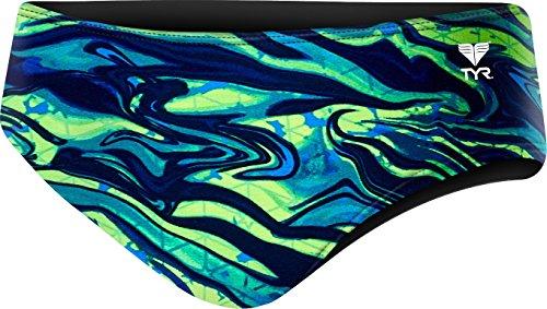 Tyr Solid Racer - TYR Men's Miramar Racer Swimsuit, Blue/Green, 26