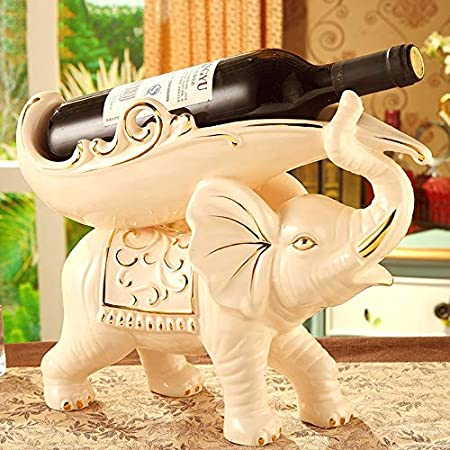 JPL Estantería De Vino Bastidores De Vino Ceramicrófonos Elefantes Forma Personalidad Creativa Vinoteca Decoración Sala de estar Restaurante Cocina Hogar Práctico Estante para vinos