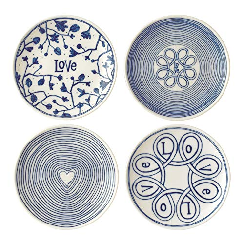 "Royal Doulton ED Love Accents Blue Love Plate 6"" Set/4 Mixed"