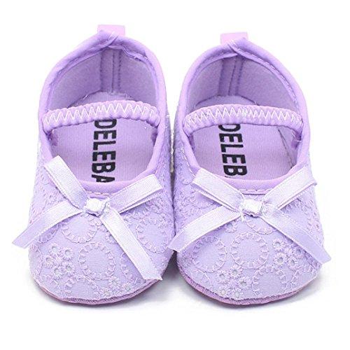 BZLine® Anti-Rutsch Baby Mädchen Prinzessin Baby Halbschuhe Lila