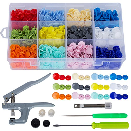 Sadzero 300 Set T5 Snap Button Plastic with Snaps Pliers and Organizer Storage Containers ()