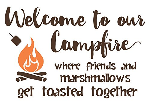 Wall Decor Plus More WDPM3809 Welcome to Our Campfire Camper Wall Art Decals Wall Stickers Lettering, 23