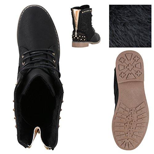 Stiefelparadies Damen Schnürstiefeletten Stiefeletten Worker Boots Kurzschaft-Stiefel Spitzenstoff Leder-Optik Schuhe Zipper Flandell Schwarz Nieten