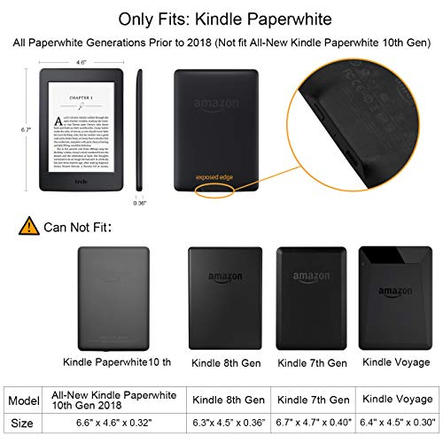 WALNEW Case for Kindle Paperwhite PU Leather Case Smart Protective Cover  fits All Paperwhite Generations Prior to 2018 (Not fit All-New Paperwhite