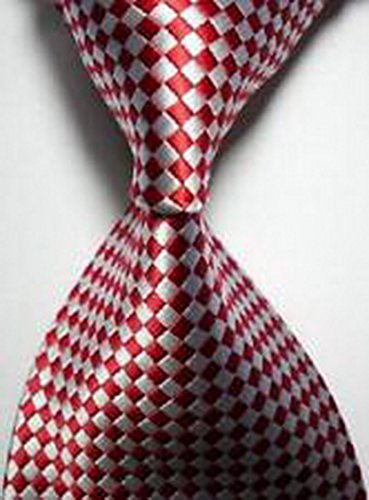 MINDoNG Necktie Checks Red White JACQUARD WOVEN Men's Tie GAG # 33321 (Bear Arms Costume)