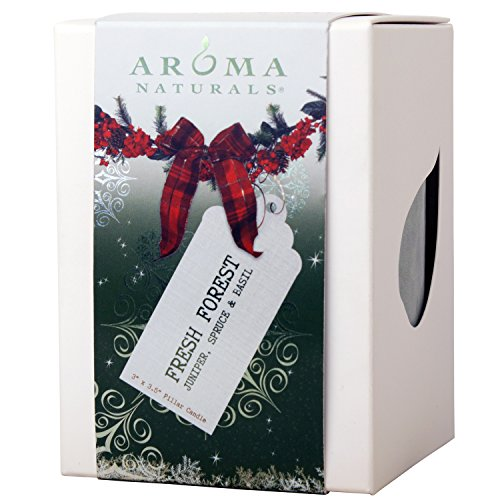 Aroma Naturals Holiday Essential Oil Pillar Candle, Juniper, Spruce and Basil, Fresh Forest, 3 inch x 3.5 inch - incensecentral.us