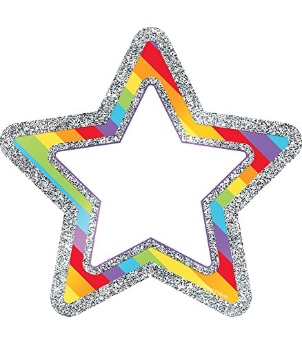 - Carson Dellosa Decorative Sparkle and Shine Rainbow Glitter Stars Cut-Outs (120246)