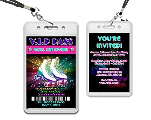 Neon Girl Roller Skating VIP Pass Lanyard Birthday Invitation 80s (Lanyard Invitations)