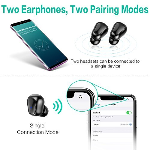 Syllable D900P Auriculares Inal/ámbricos Est/éreo In-Ear Bluetooth 5.0 Manos Libres con Micr/ófono Dual con Caja de Carga para iPhone y Otros Smart Phones Auriculares Bluetooth Negro
