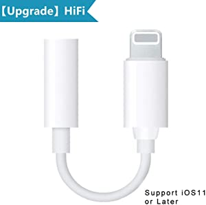 Pilloit Compatible Headphone Adapter Audio Jack Accessories Earphones Dongle 3.5mm Audio AUX Splitter Replacement for iPhone iPhone 7/7Plus iPhone 8/8Plus iPhone X/10 Support iOS11 or Later-White