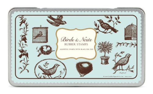 Cavallini Rubber Stamps Birds & Nests, Assorted with Ink (Bird Rubber Stamp)